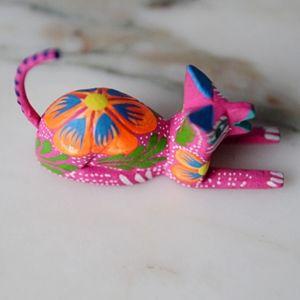 Oaxacan Alebrije Pink Cat Mini Wood Carving  New